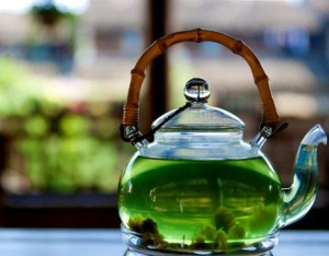 green tea glass pot